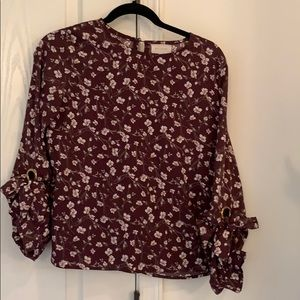 Burgundy flowered blouse